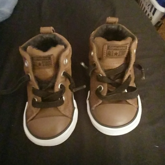 a6e9d39176f1 Converse Other - Converse All Star Brown Leather Hi Top kids as 5